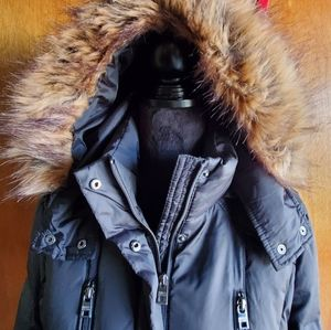 Black puffer coat with removable hood